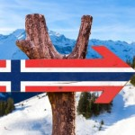 Norway Flag wooden sign with alps background