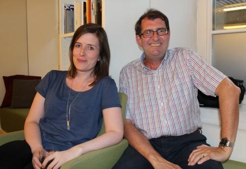 Linn Dahler og Stig Michaelsen fra Riksmålsforbundets sekretariart.